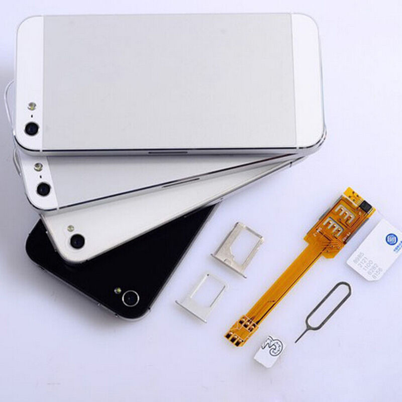 2015 new dual sim card double sim adapter use two sim for iphone 5 6 sp ebay. Black Bedroom Furniture Sets. Home Design Ideas