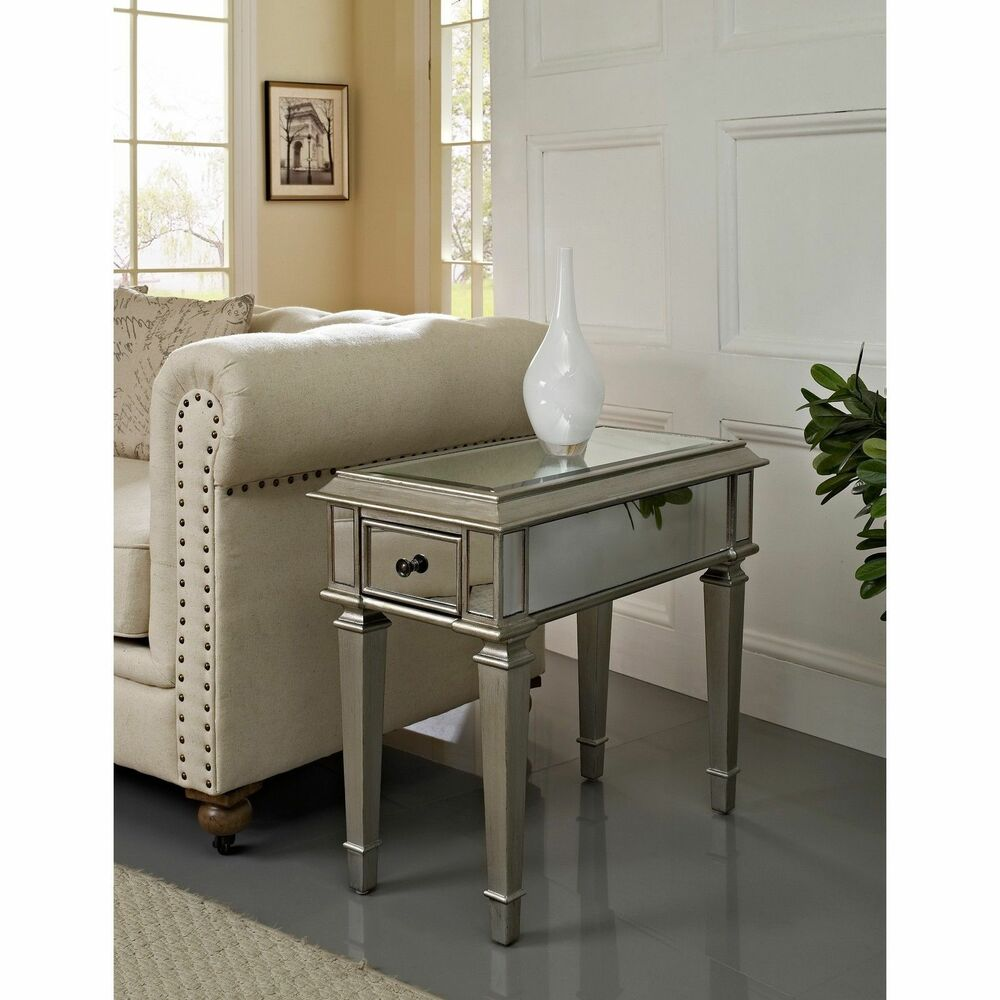 home bethany mirrored side table furniture living room accent lounge decor new ebay