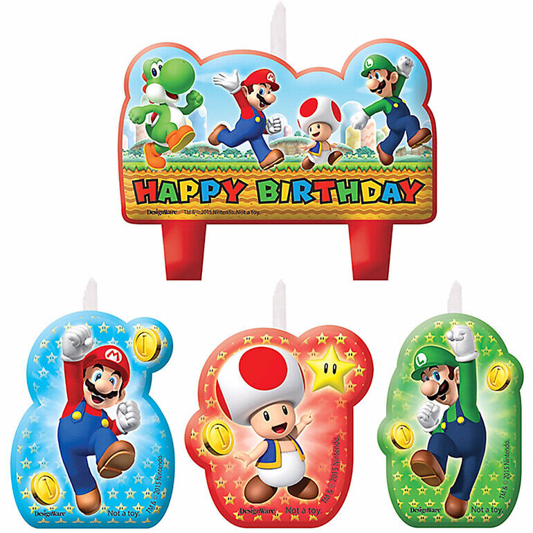 Super Mario Brothers Boy Birthday Candles Set Party