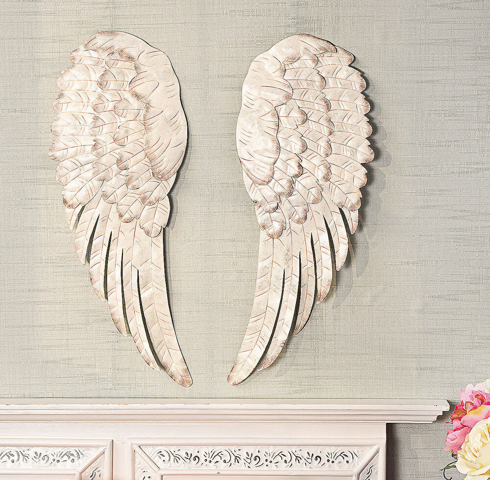 Metal angel wings home decor hanging wall sculpture 24 for Angel wings wall decoration uk