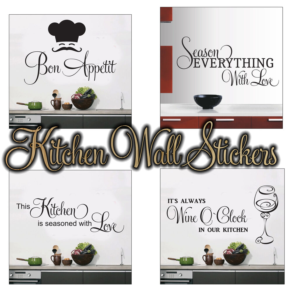 Quote words art removable vinyl mural wall sticker kitchen decal decor diy uk ebay - Diy kitchen wall decor ...