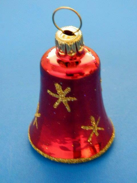 RED GOLD MINI BELL GERMAN BLOWN GLASS CHRISTMAS TREE ...