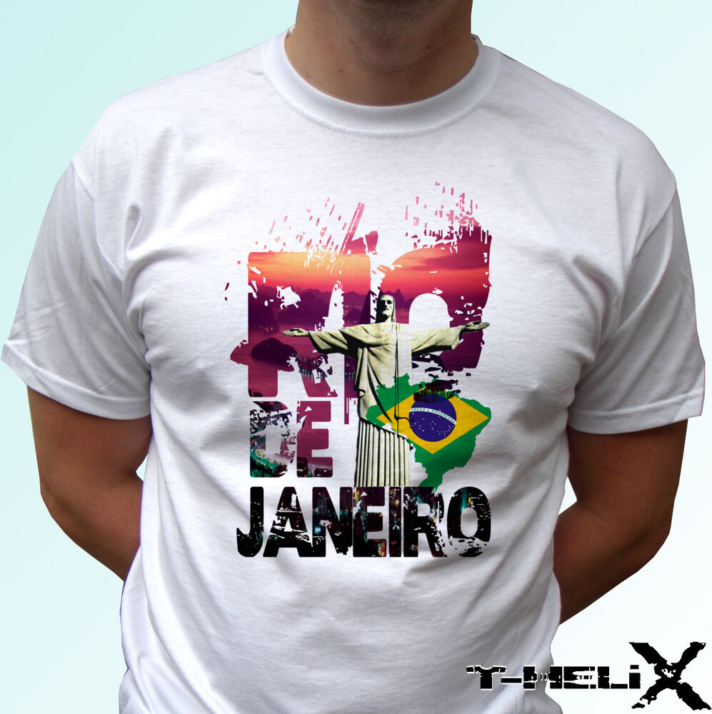rio de janeiro white t shirt top tee brazil mens womens kids baby sizes ebay. Black Bedroom Furniture Sets. Home Design Ideas