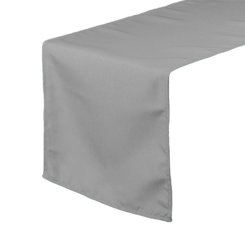 Ycc 14 x 108 inch polyester table runner gray ebay for 108 table runner