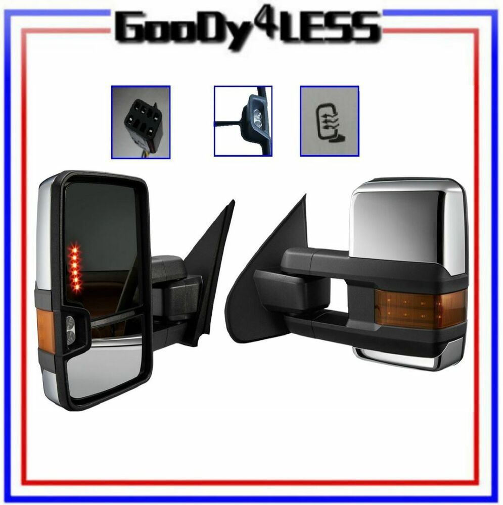 POWER HEATED CHROME Towing Mirrors For 99-02 Chevy