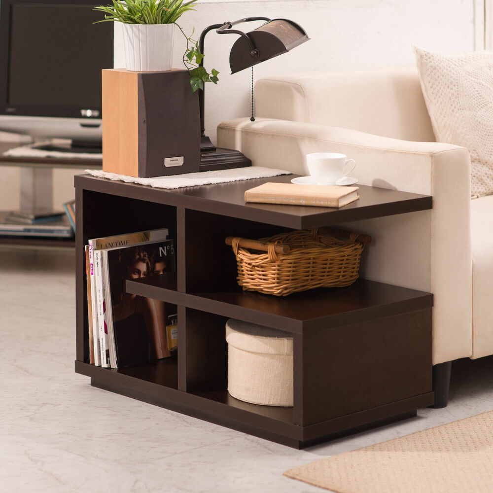 Furniture modern walnut end table living room accent for Living room tables
