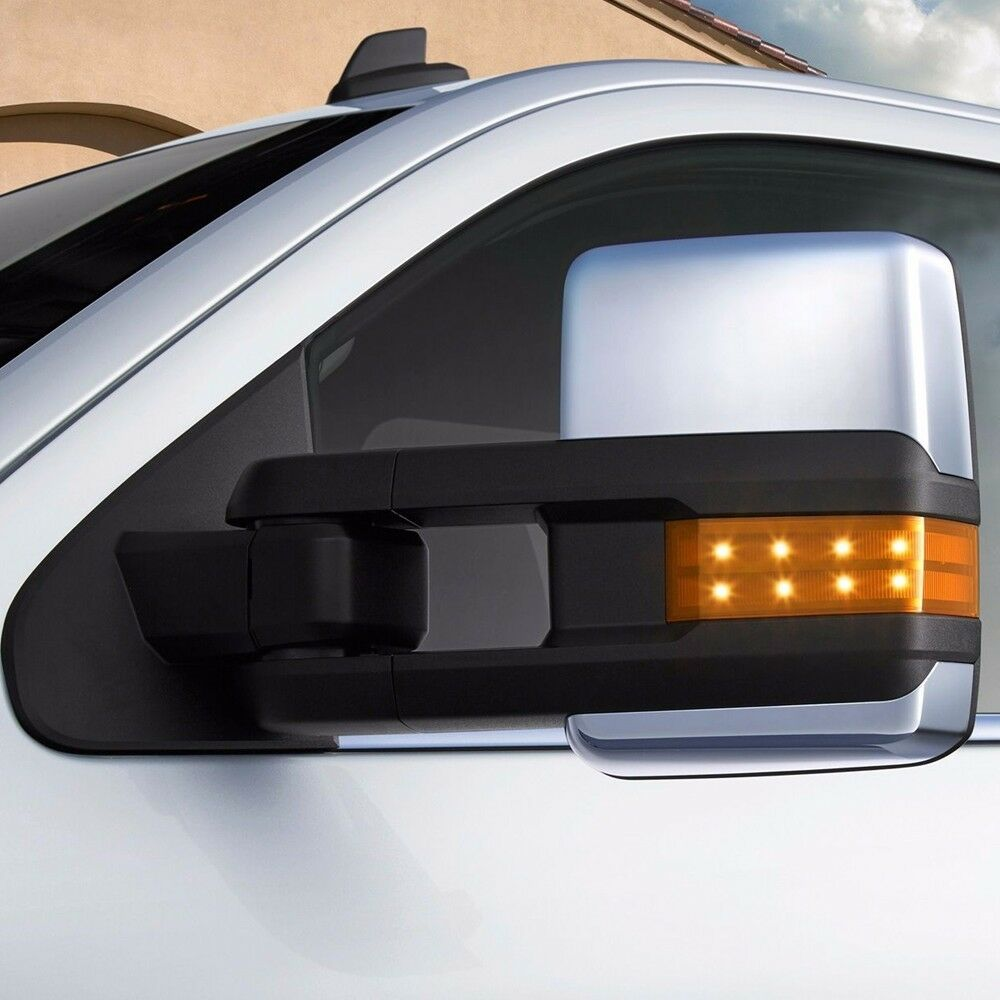 Vehicle Towing Mirrors : Silverado towing power heated chrome mirrors led
