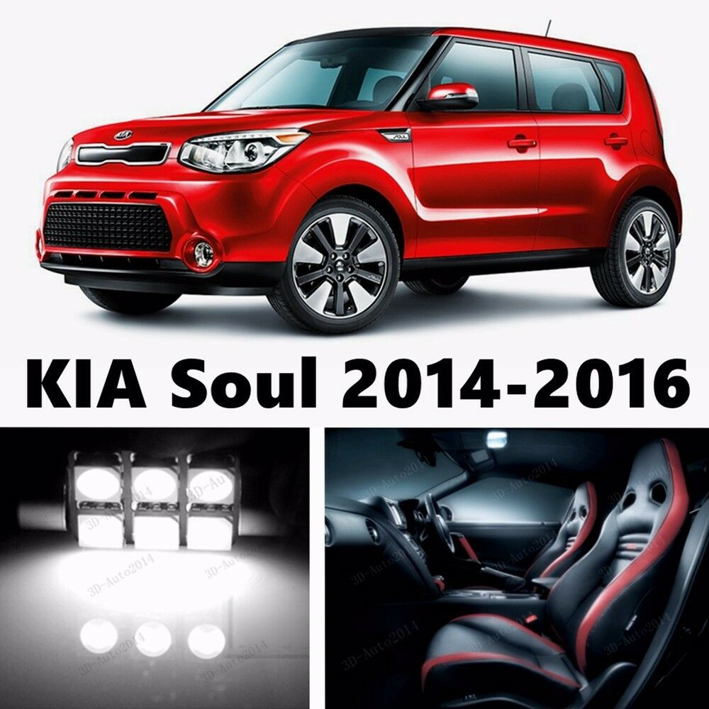 11pcs led xenon white light interior package kit for kia soul 2014 2016 ebay. Black Bedroom Furniture Sets. Home Design Ideas