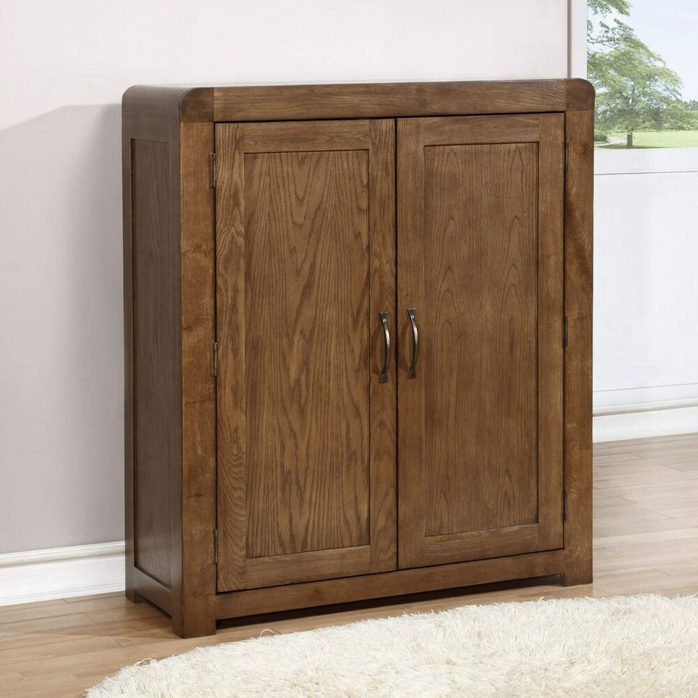 Solid Dark Oak Shoe Cabinet Fits 20 Pairs Ebay