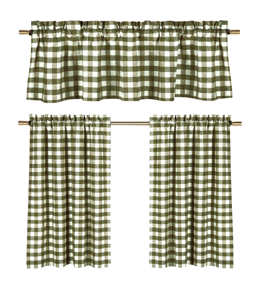 Sage Green Gingham Checkered Plaid Kitchen Tier Curtain Valance Set Duck River Ebay