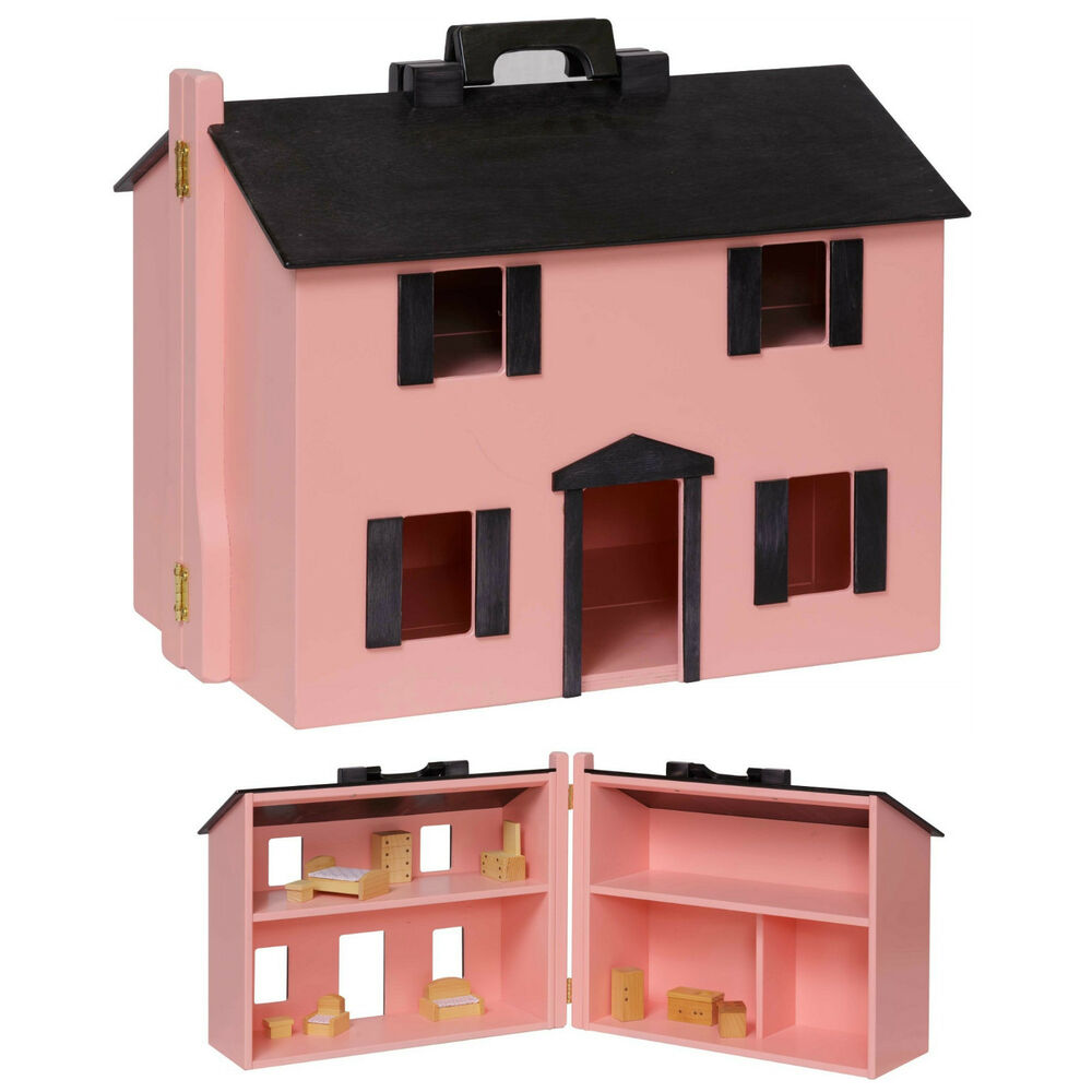 Large handcrafted dollhouse furnished wooden doll furniture preschool house pink ebay Dollhouse wooden furniture