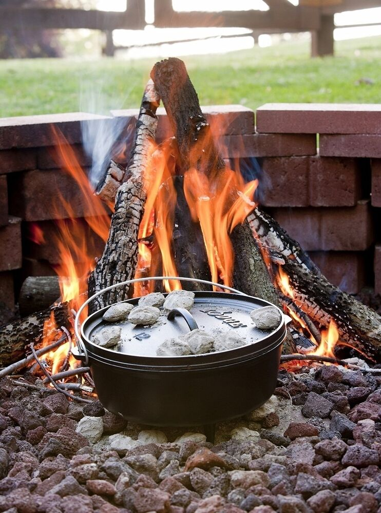 Lodge dutch oven 8 qt camp stove seasoned w lid cast iron for How to cook in a dutch oven over a campfire