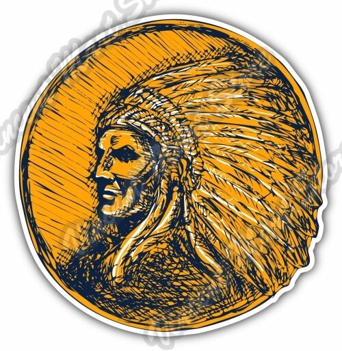 Indian Chief Head Apache Native Gift Idea Car Bumper Vinyl