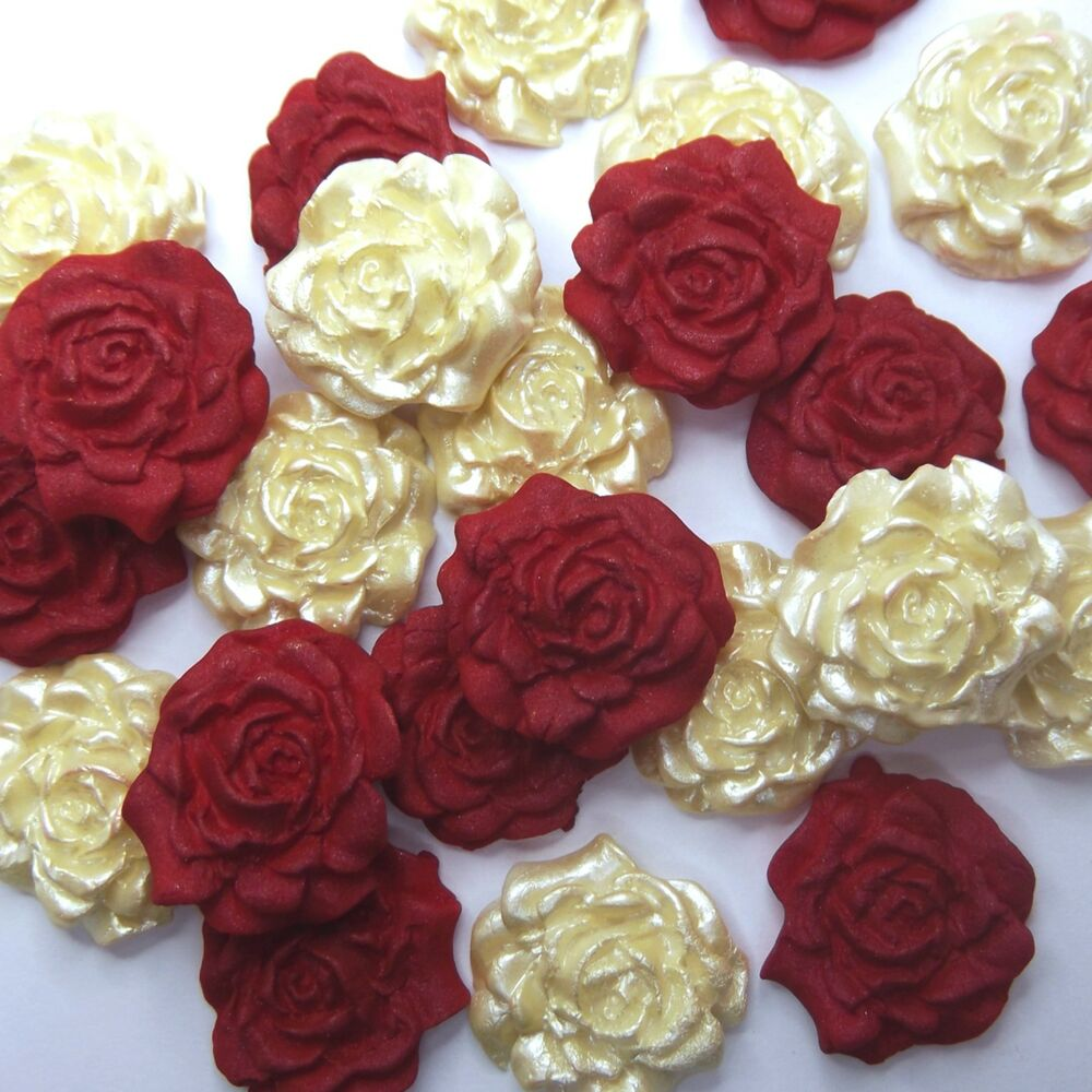 Cake Decorating Ideas For Ruby Wedding : 12 Red & Cream Pearl Sugar Roses ruby wedding christmas ...