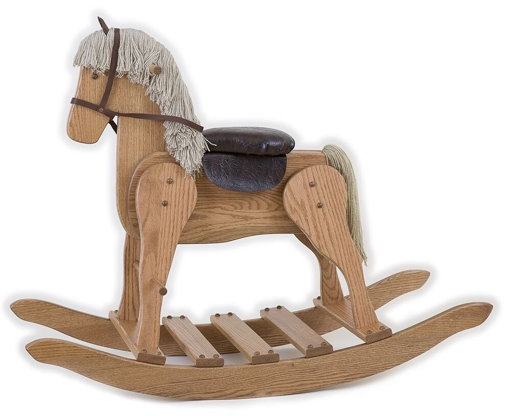 Wooden Rocking Horse ~ Large wooden rocking horse handmade toddler toy amish