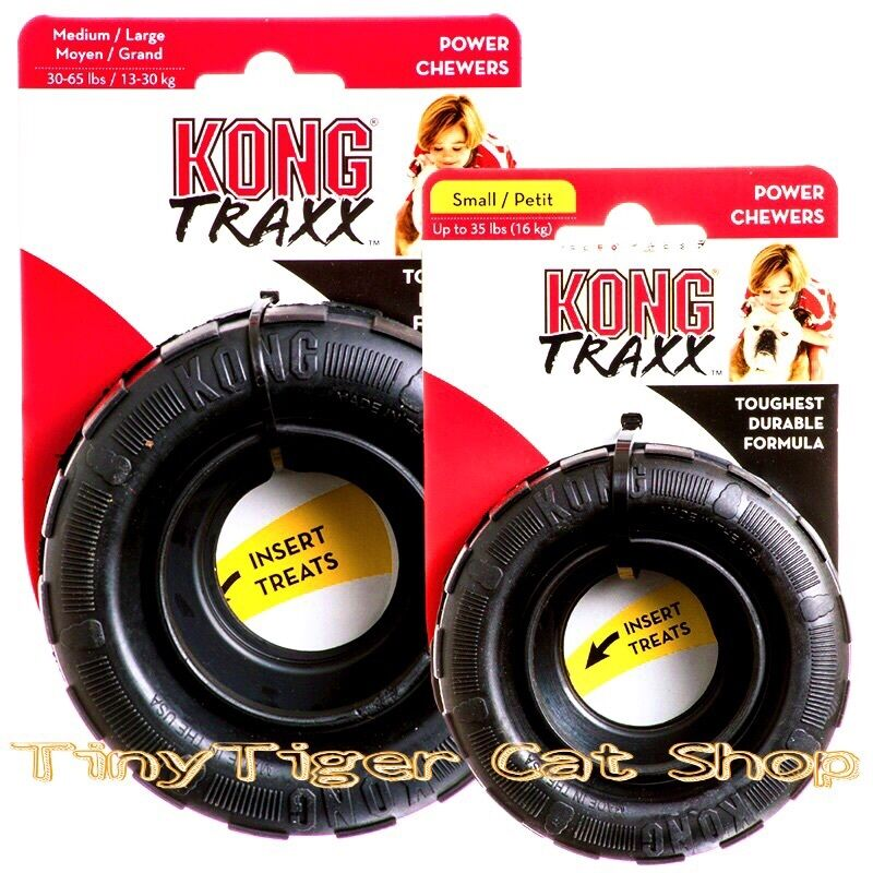 Kong Traxx Treat Rubber Black Tire Dog Toy Small Or Medium
