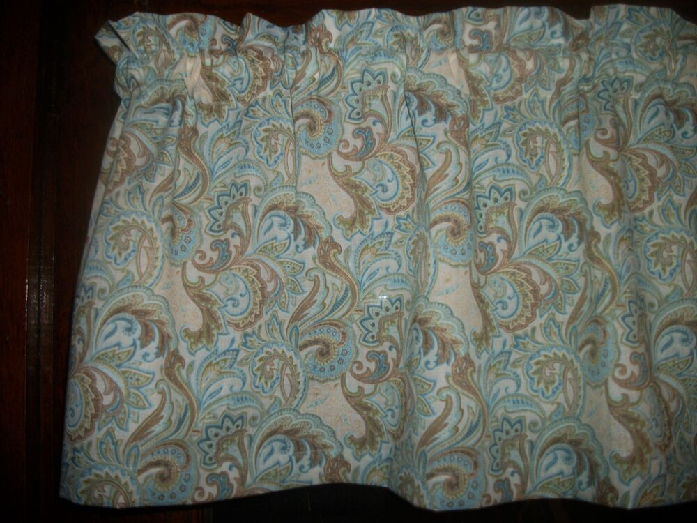 light blue seafoam paisley floral flowers curtain window. Black Bedroom Furniture Sets. Home Design Ideas