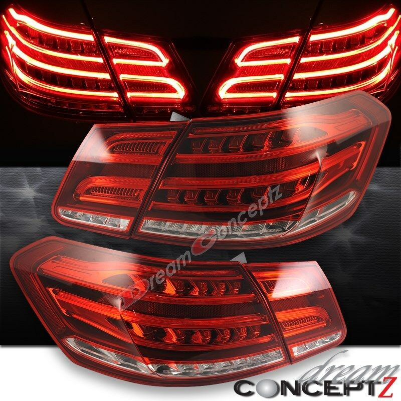 2010 2013 Mercedes Benz E Class W212 Sedan Led Tail Lights 4 Pcs Red Clear Lens Ebay