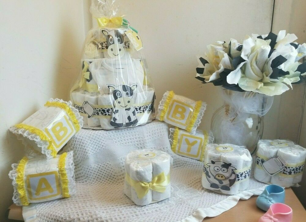 Baby shower diaper cake centerpiece table decoration gift for Baby diaper decoration ideas
