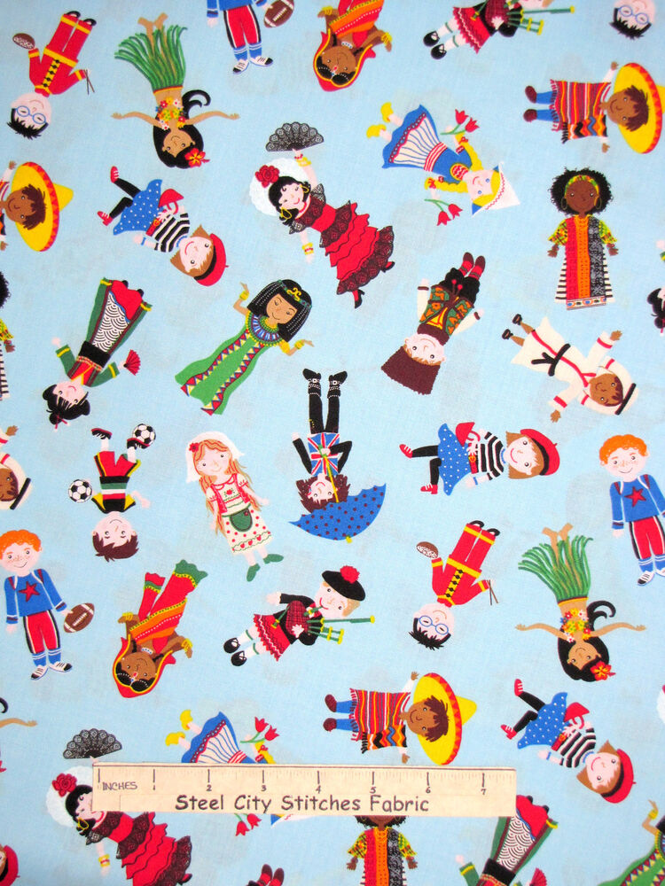 People children fabric kids countries world timeless for Children of the world fabric