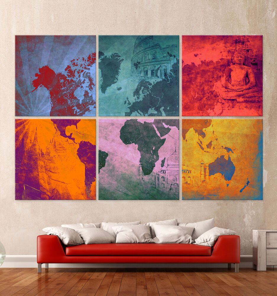 die weltkarte pop art leinwand bilder modern kunstdruck bild wandbild worldmap ebay. Black Bedroom Furniture Sets. Home Design Ideas