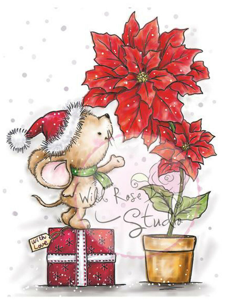 Christmas Mouse Poinsettia Unmounted Rubber Stamp Wild ...