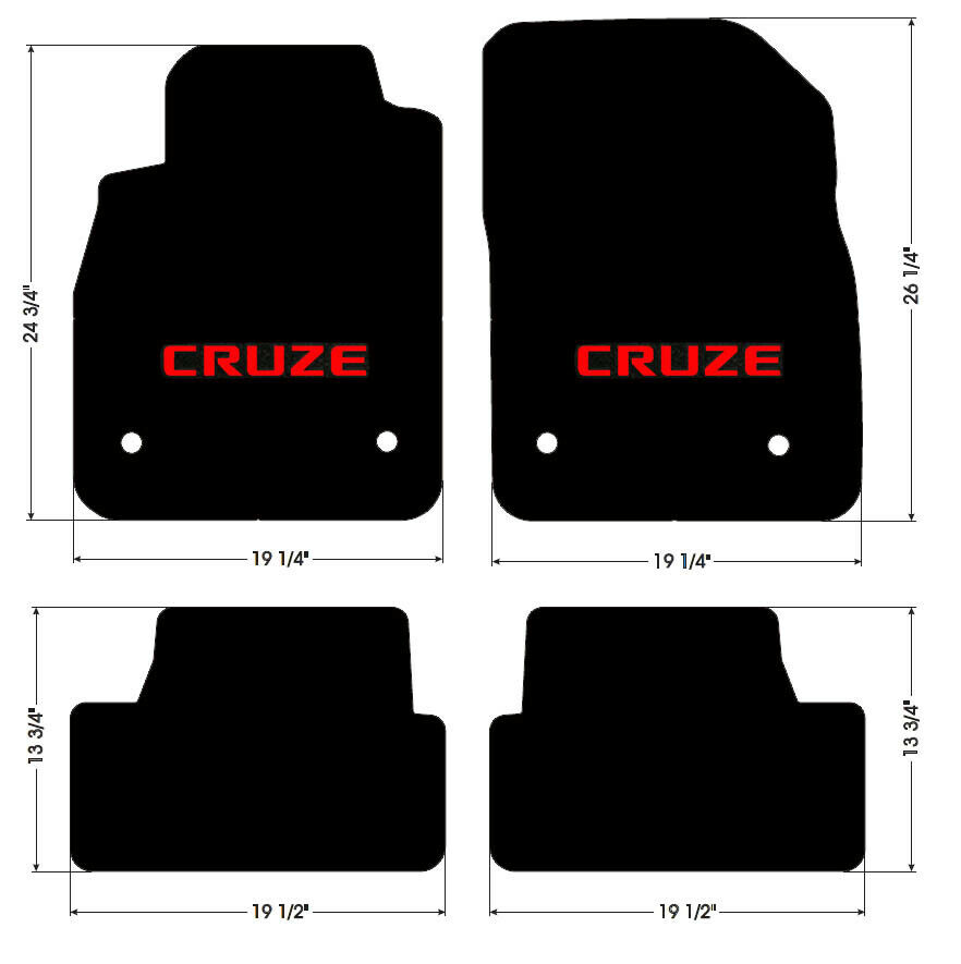 New Black Floor Mats 2010 2014 Chevy Cruze With Red