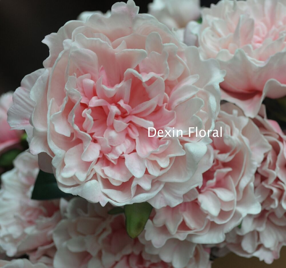 Blush pink open peony real touch flower silk bridal for One flower bridal bouquet
