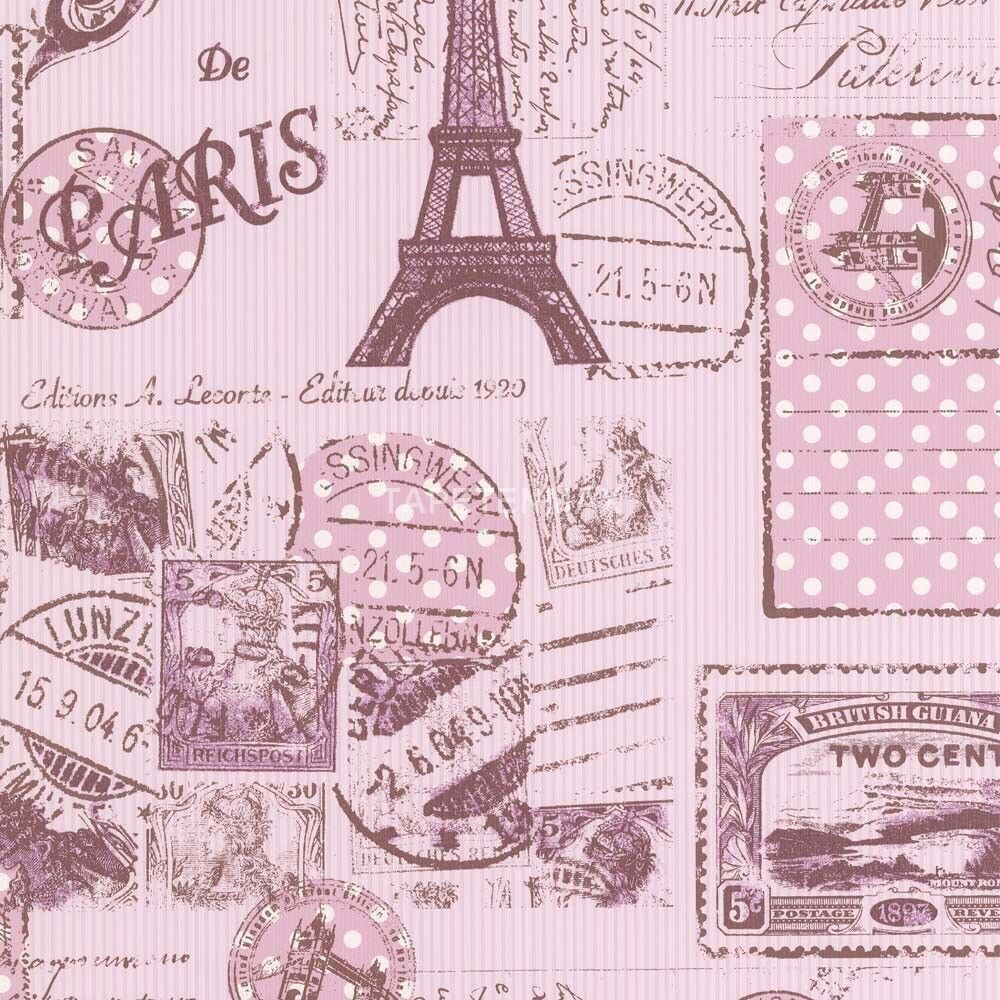 pink vintage paris eiffel tower textured feature wallpaper