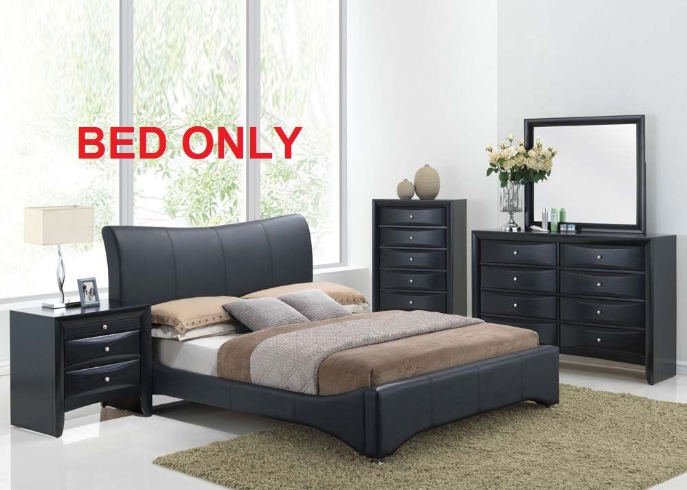 Harrison Bedroom Set Modern 1pc Queen King Size Bed Black Pu Unique Furniture Ebay