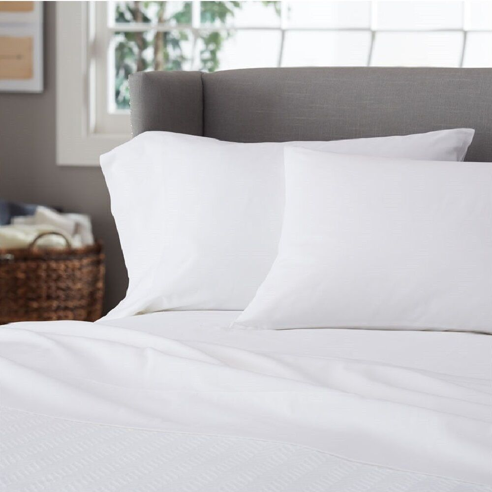 1 full size white sheet set 250tc percale hotel 1 flat 1 fitted 2 pillow cases ebay. Black Bedroom Furniture Sets. Home Design Ideas