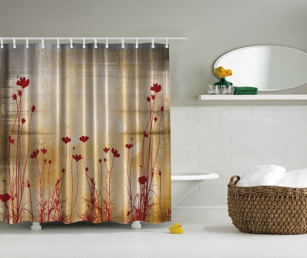 Maroon Red Flower Silhouette Beige Floral Fabric Shower