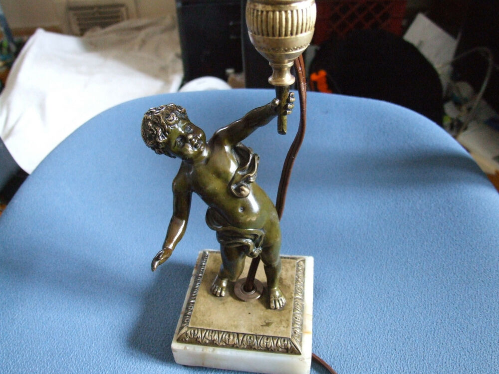 1900 S Vintage Bronze Amp Marble Little Boy Table Lamp Ebay