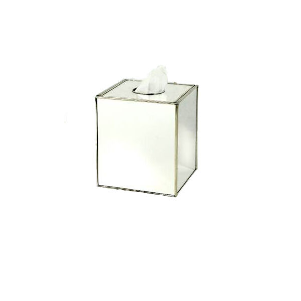 Tissue box cover square mirrored bathroom accessories for Bathroom accessories silver