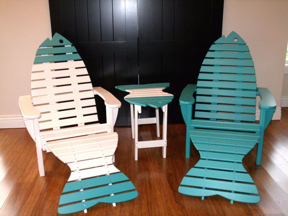2 Premium Poly Fish Adirondack Chairs W Ottoman Amp End