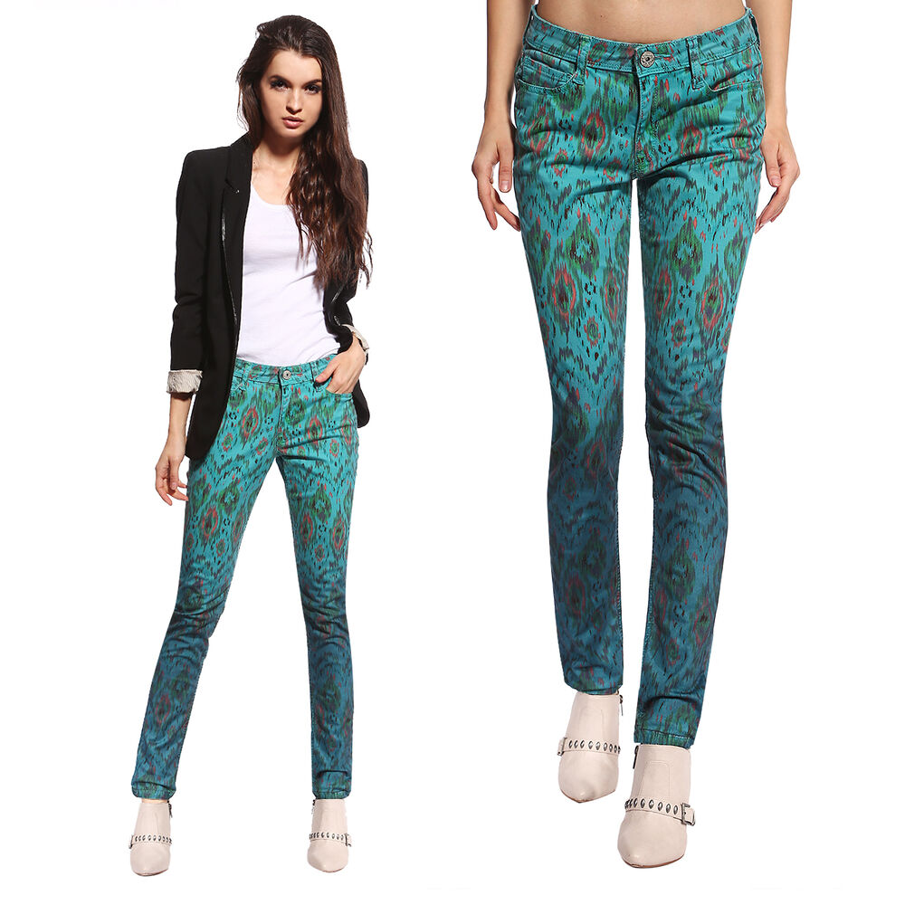 Anladia Womens Stretch Pencil Vintage Floral Pants Peacock ...