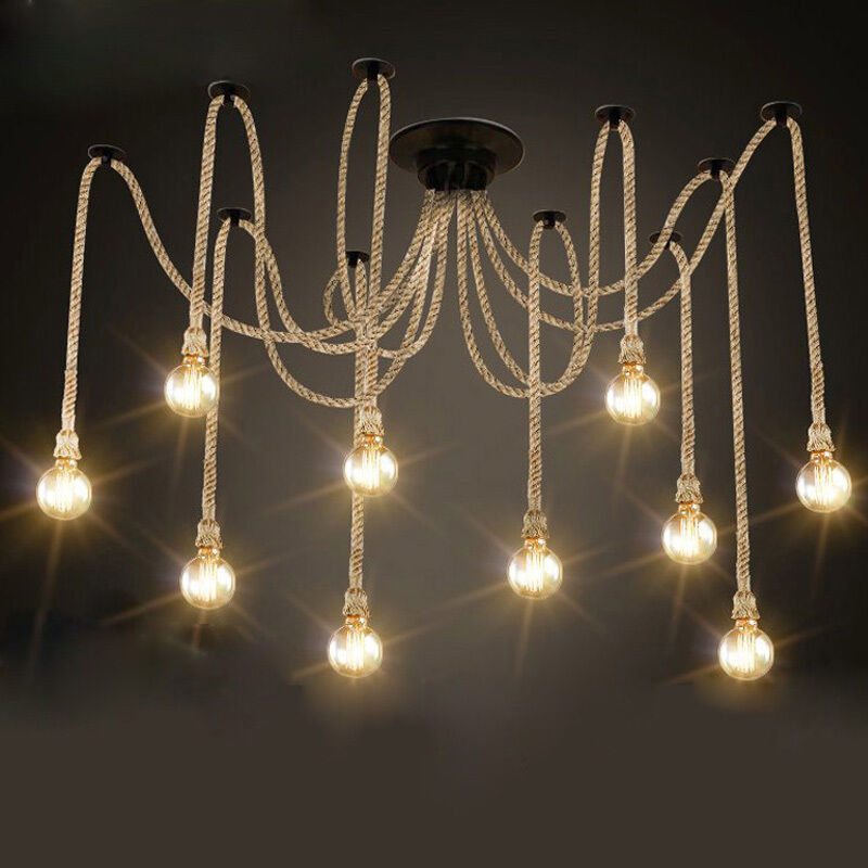 Vintage Industrial Retro Spider Chandelier Hemp Rope