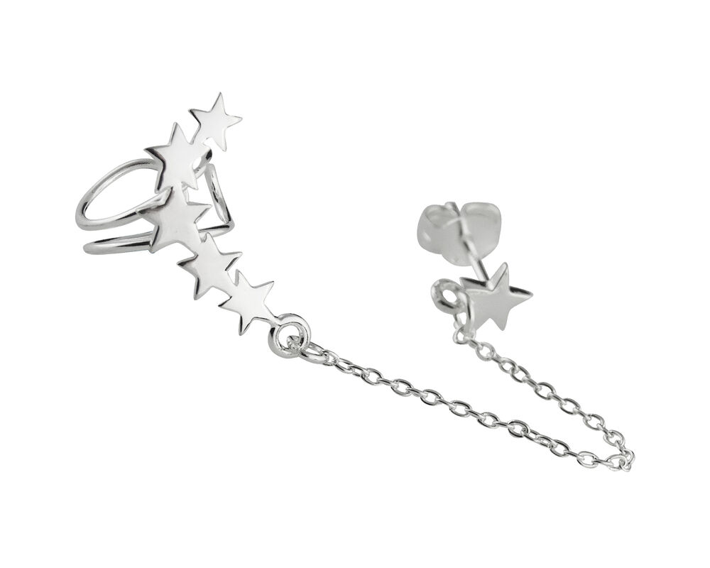 star ear climber earring 925 sterling silver right ear. Black Bedroom Furniture Sets. Home Design Ideas