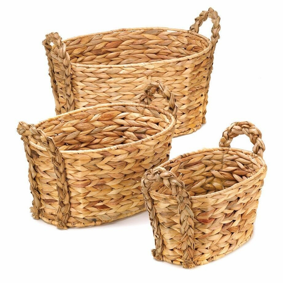 set of 3 nesting woven hyacinth baskets with braided handles ebay. Black Bedroom Furniture Sets. Home Design Ideas