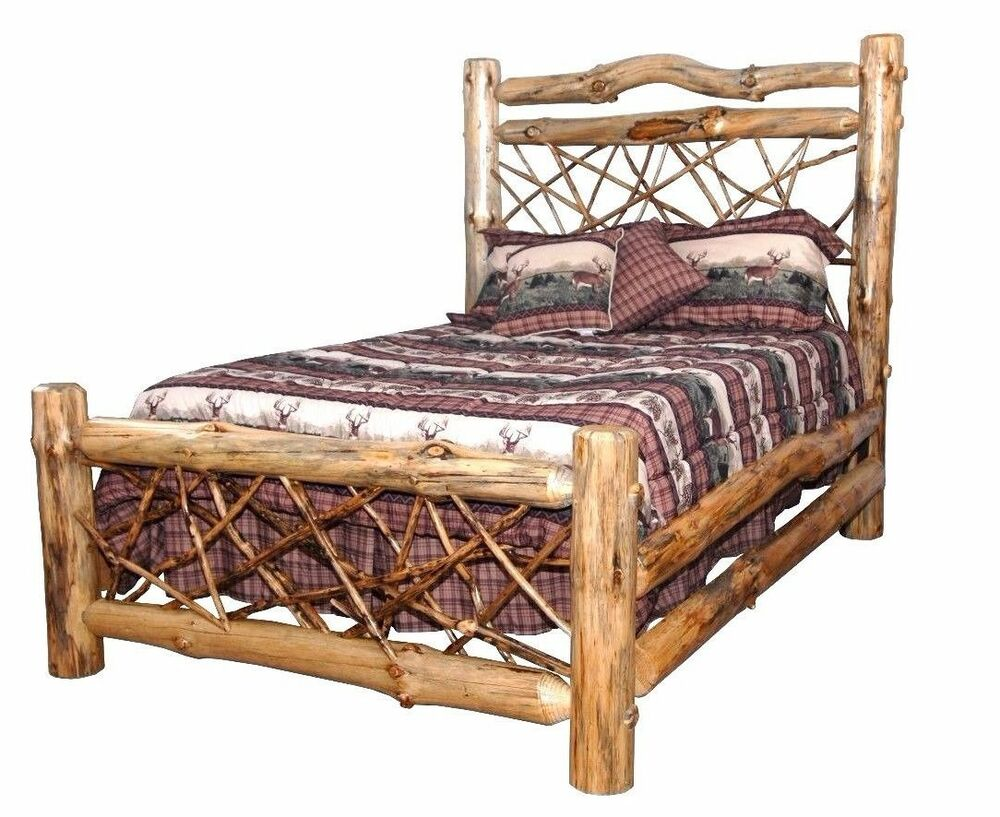 Rustic pine log queen size twig style complete bed frame amish made in usa ebay Adirondack bed frame