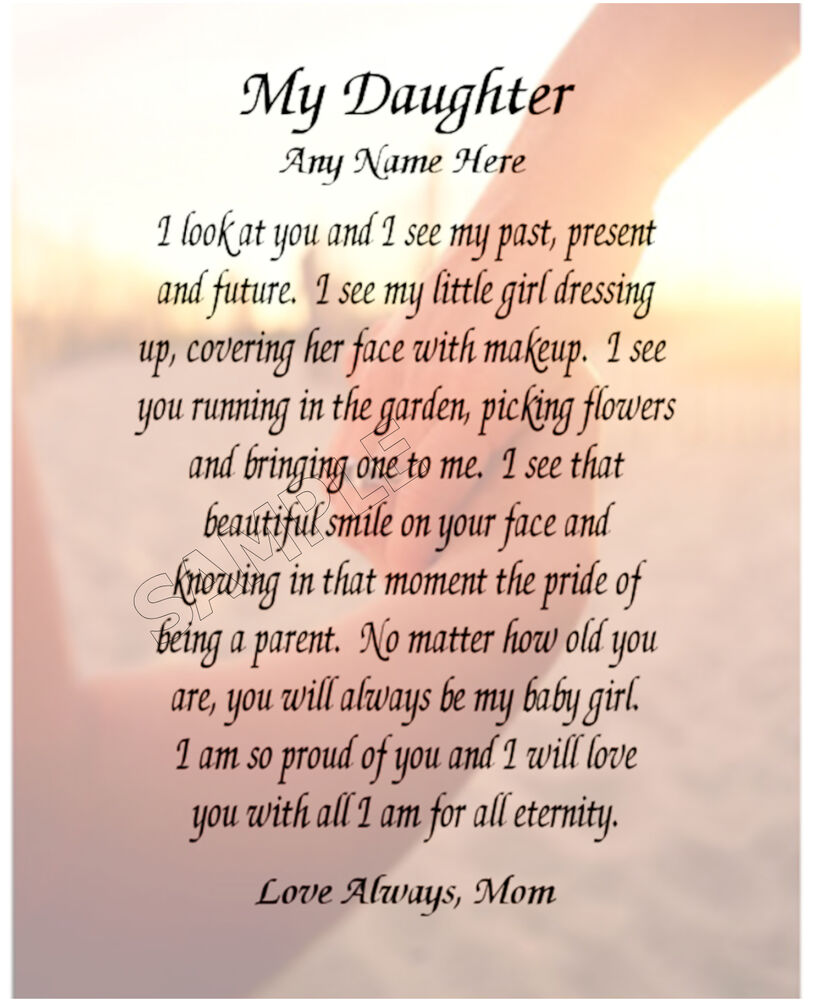 Birthday Quotes For Daughter Turning 18: MY DAUGHTER PERSONALIZED ART POEM MEMORY BIRTHDAY GIFT