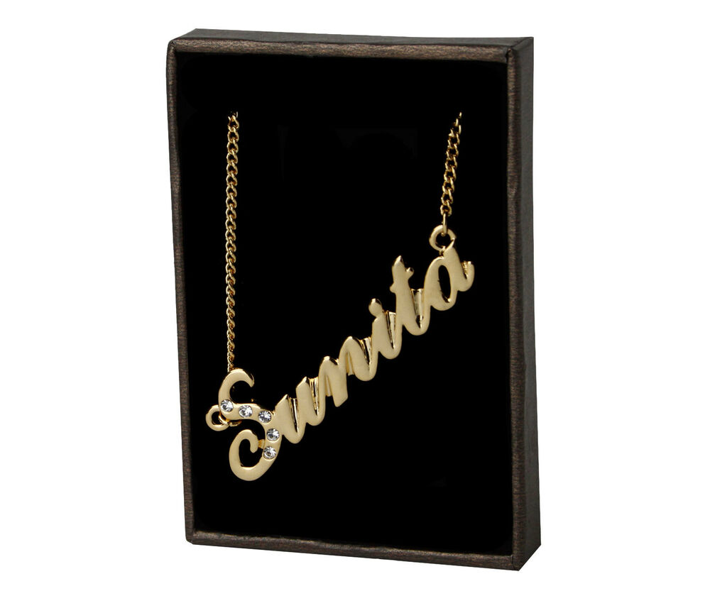 Name Necklace Quot Sunita Quot 18k Gold Plated Christmas