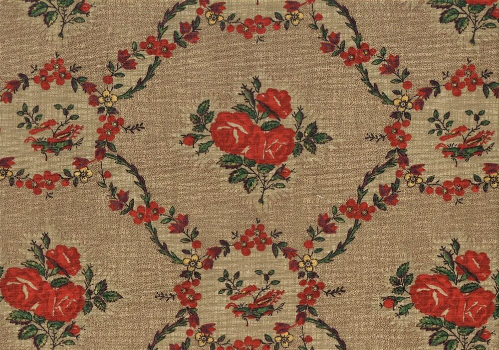 Waverly fabric mary rose brown red green gold floral for Floral upholstery fabric