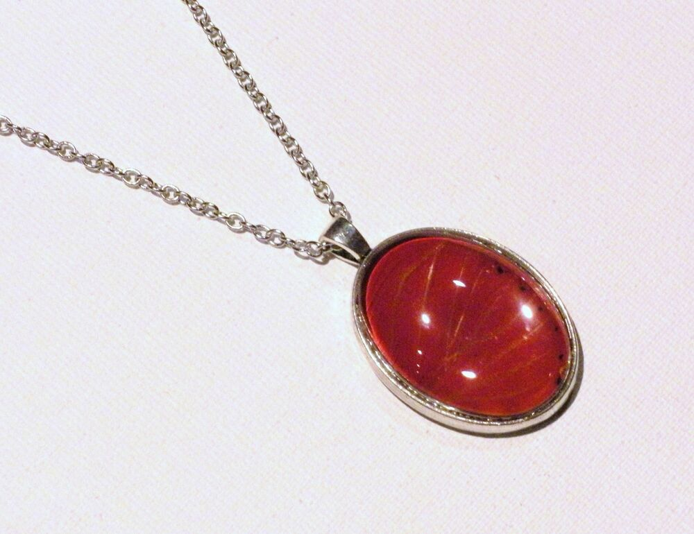Red Butterfly Wing Pendant Necklace Antique Silver Jewelry Cymothoe Sangaris Ebay