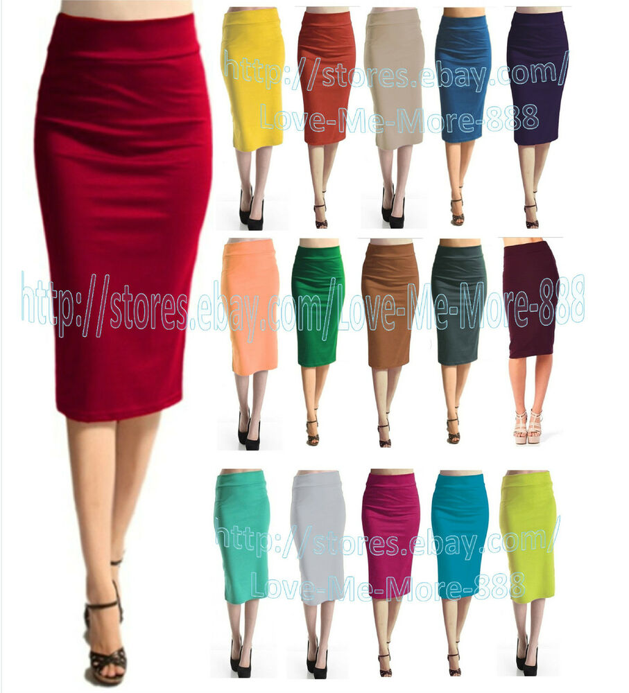 high waisted new womens solid basic pencil wiggle midi