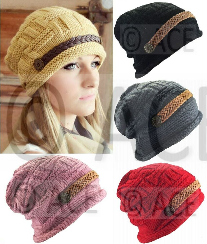 Womens Ribbed Chunky Knit Ladies Beret Hats Knitted Hats