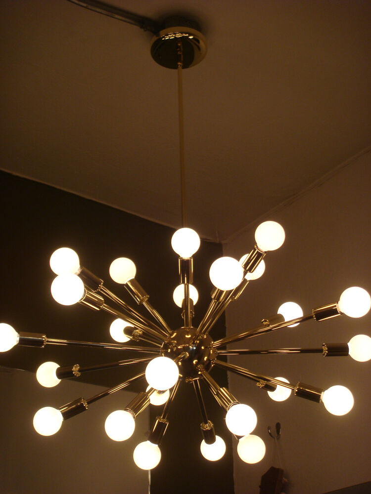 Sputnik starburst light fixture chandelier lamp polished brass bulbs included ebay - Light fixtures chandeliers ...