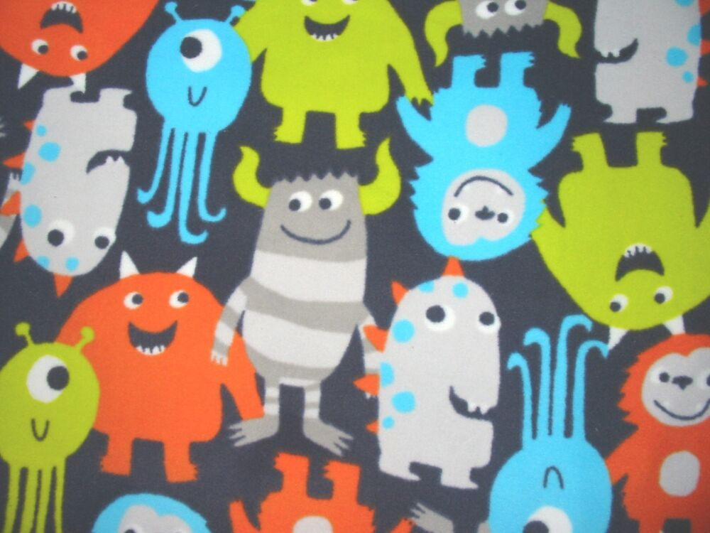 Fleece fabric with cute monsters by the yard ebay for Baby monster fabric