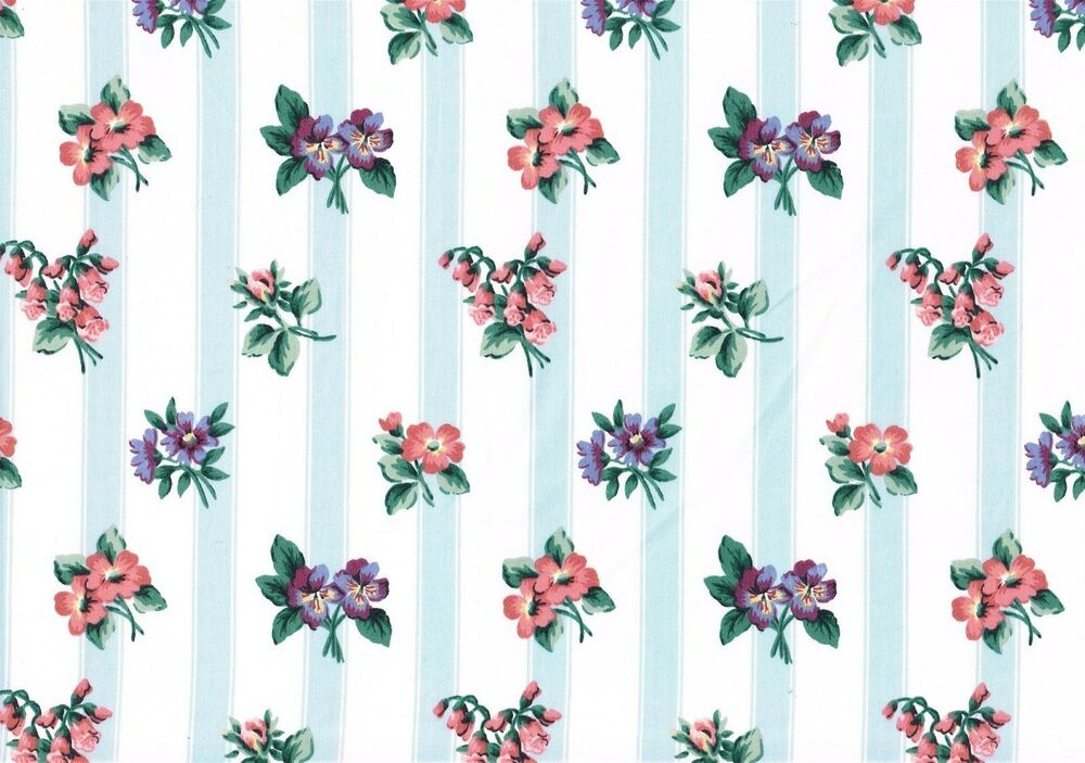 Waverly Fabric Franklin Blue White Striped Floral Cotton