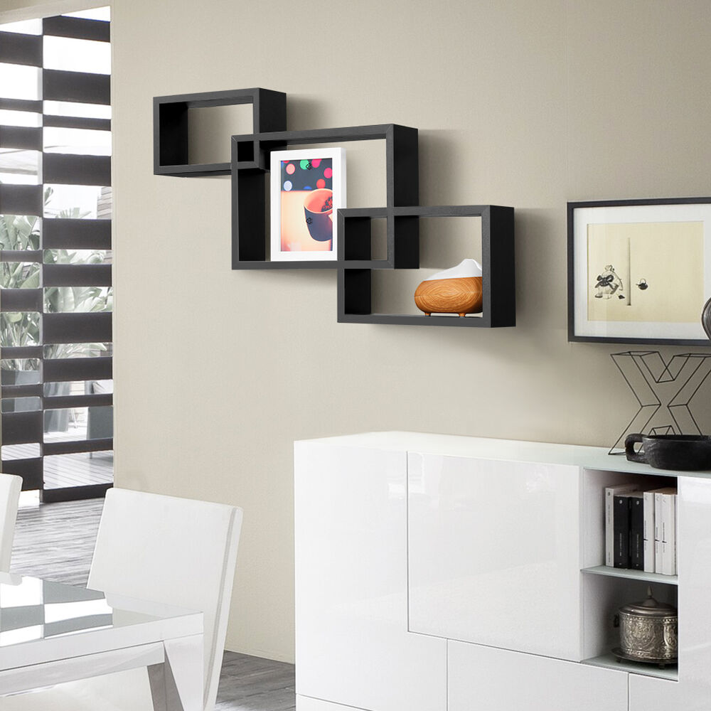 Intersecting Wood Wall Shelves Floating Shelf Storage Home